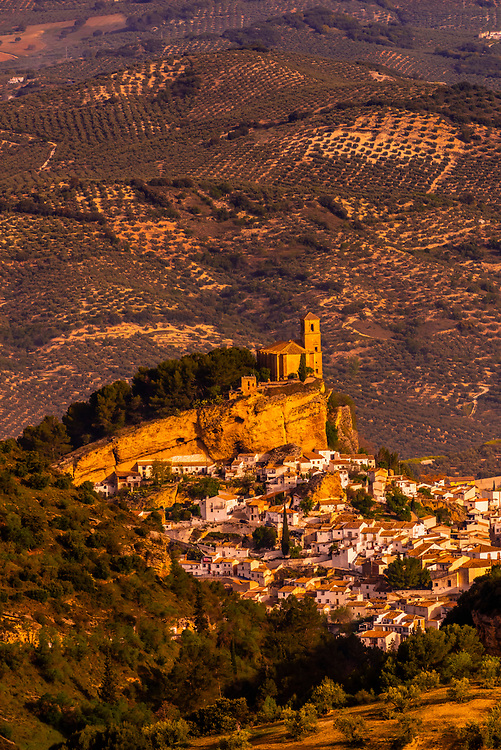 The hilltop town of Montefrio, Granada Province, Andalusia, Spain with the Church of La Villa above it. Montefrio was called one of the top ten towns with the best views in the world by National Geographic.