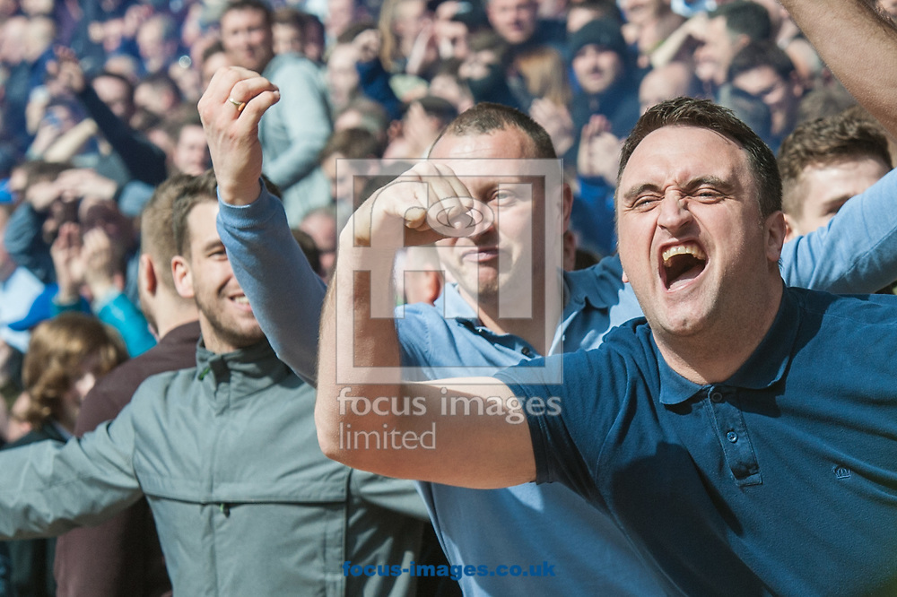 Sheffield Wednesday fans celebrate after their sides first goal during the Sky Bet Championship match at Oakwell, Barnsley<br /> Picture by Matt Wilkinson/Focus Images Ltd 07814 960751<br /> 01/04/2017