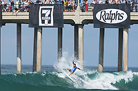 Huntington Beach, CA - August 06: Second place finisher Tomas Hermes competes in a mens semi-final heat at the Vans US Open of Surfing in Huntington Beach, California on August 6th, 2017. (Photo Jim Kruger/Kruger-images.com)