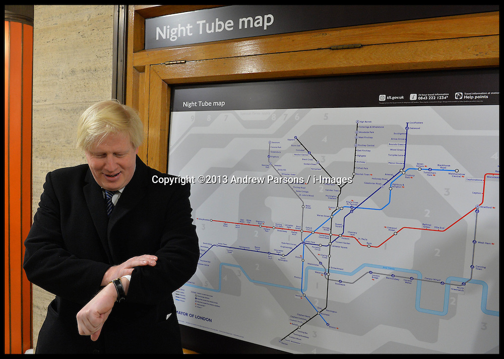 The Mayor of London Boris Johnson announces the new 24 hour Tube at Piccadilly Circus, London, United Kingdom. Thursday, 21st November 2013. Picture by Andrew Parsons / i-Images