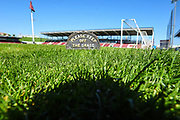 """""""Keep of the grass """" Sign on the Sixfields pitch during the EFL Sky Bet League 1 match between Northampton Town and Oldham Athletic at Sixfields Stadium, Northampton, England on 5 May 2018. Picture by Dennis Goodwin."""