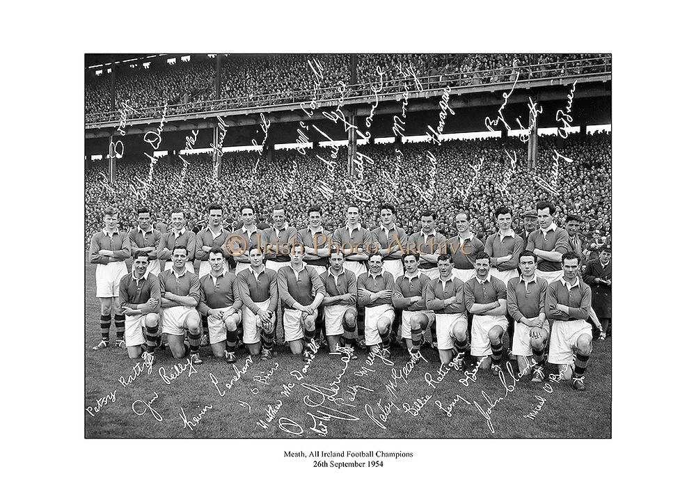 Signed team shot of Meath Senior Football Team, 1954 All Ireland Champions.