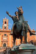 ITALY, ROME Piazza del Campidoglio on Capitoline Hill,  designed by Michelangelo with equestrian  statue of Emperor Marcus Aurelius