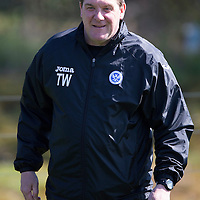 St Johnstone Training...24.04.15<br /> Manager Tommy Wright pictured in training this morning at McDiarmid Park ahead of tomorrow's game at Dundee<br /> Picture by Graeme Hart.<br /> Copyright Perthshire Picture Agency<br /> Tel: 01738 623350  Mobile: 07990 594431