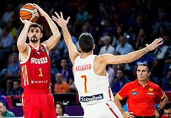 Aleksei Shved of Russia vs Juan Carlos Navarro of Spain during basketball match between National Teams  Spain and Russia at Day 18 in 3rd place match of the FIBA EuroBasket 2017 at Sinan Erdem Dome in Istanbul, Turkey on September 17, 2017. Photo by Vid Ponikvar / Sportida