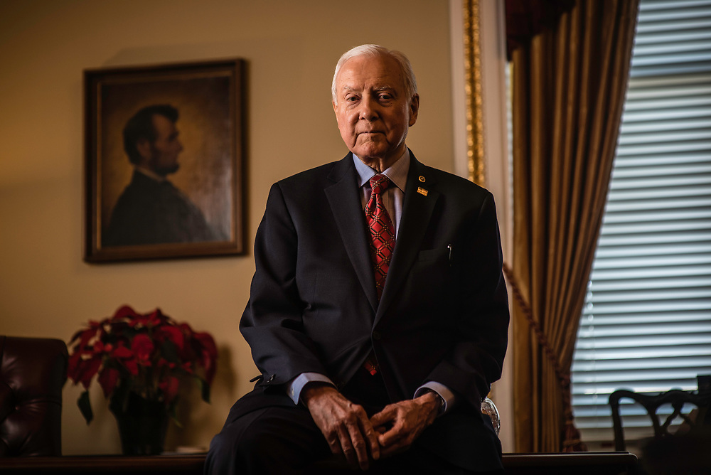 WASHINGTON, DC -- 12/21/17 -- Sen. Hatch in the Senate pro tem office with an original portrait of President Lincoln on the wall. This is the same painting that Lincoln actually sat for and is the basis for the penny. Senator Orrin Hatch is the senior senator from Utah, Chairman of the Senate Finance Committee and President pro tempore of the United States Senate..…by André Chung #_AC17975