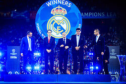 Liverpool owner John W Henry, President Florentino Perez of Real Madrid, Theodore Theodoridis, General Secretary of UEFA and UEFA's president Aleksander Ceferin (R) at UEFA Champions League Trophy Cermony after the UEFA Champions League Final between Real Madrid and Liverpool at NSC Olimpiyskiy Stadium on May 26, 2018 in Kiev, Ukraine. Photo by Sandi Fiser / Sportida