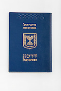 Cutout of an Israeli passport on white background