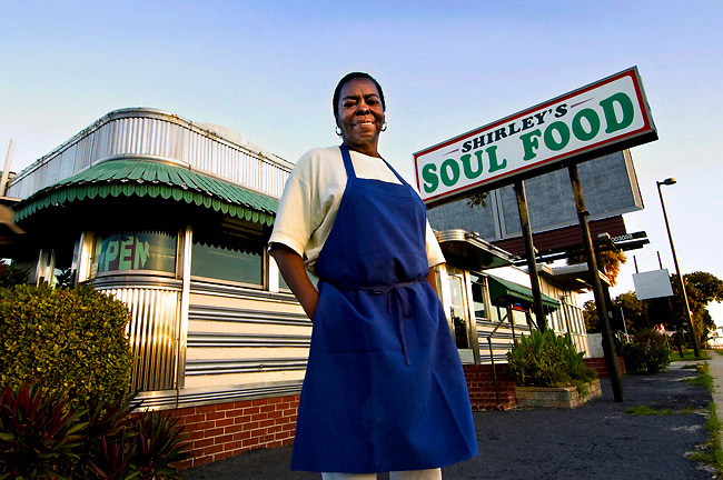 Portrait of Shirley, the owner of Shirley's Soul Food Diner in Saint Petersburg, Florida