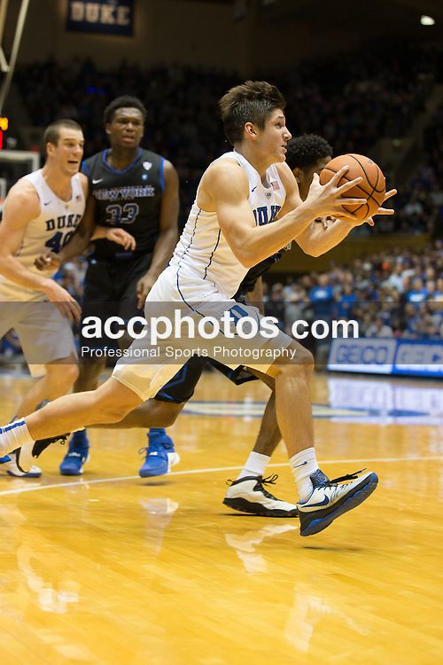 DURHAM, NC - DECEMBER 05: Grayson Allen #3 of the Duke Blue Devils dribbles the ball against the Buffalo Bulls during a 59-82 Duke Blue Devils win on December 05, 2015 at Cameron Indoor Stadium in Durham, North Carolina. (Photo by Peyton Williams/Getty Images) *** Local Caption *** Grayson Allen