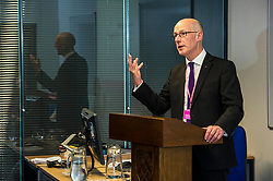 Pictured:  John Swinney<br /> <br /> Education Secretary John Swinney  joined college and university staff to launch a resource to handle gender-based violence. Fiona Drouet's daughter Emily committed suicide following being abused by a fellow student.  She started the Emily test and gathered political support for the establishment of a resource so that all students and staff who how to repond if they or others are abused due to gender.  More than 100,000 cards have been printed featuring the national support helplines for gender-based violence and sexual harassment. They have been designed to be carried constantly by staff, to enable them to quickly refer any victims to help.