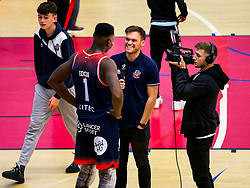 Daniel Edozie of Bristol Flyers after Bristol Flyers win 92-72 - Rogan/JMP - 11/10/2019 - BASKETBALL - SGS Wise Arena - Bristol, England - Bristol Flyers v Plymouth Raiders - BBL Cup.
