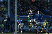 Phil Jagielka (captain) (Everton) gets a header in to clear the ball as Leighton Baines (Everton) clutches his head having received a knock during the Barclays Premier League match between Everton and Norwich City at Goodison Park, Liverpool, England on 15 May 2016. Photo by Mark P Doherty.