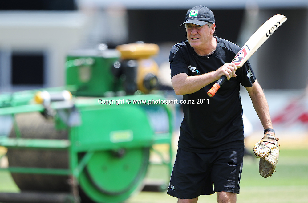 Black Caps coach John Wright training at Bellerive Oval ahead of the second cricket test match versus Australia in Hobart. Thursday 8 December 2011. Photo: Andrew Cornaga/Photosport.co.nz