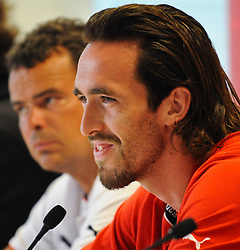 01.06.2011, Ernst Happel Stadion, Wien, AUT, EURO 2012 Qualifikation, Pressekonferenz Oesterreich,im Bild Christian Fuchs (AUT, #5) und im Hintergrund Co-Trainer Manfred Zsak // during the Press Conference, Ernst Happel Stadion, Vienna, 2011-06-01, EXPA Pictures © 2011, PhotoCredit: EXPA/ M. Gruber