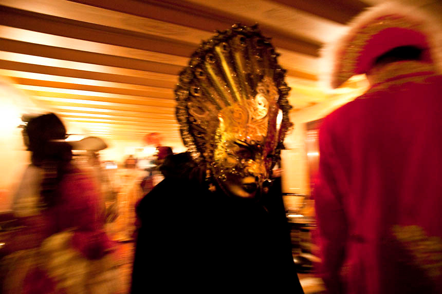 Masked revellers attend a ballroom party at Baglioni Hotel  during the first day of the Venetian Carnival in Venice.