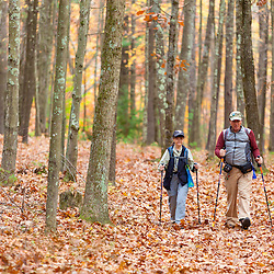 A man and woman walk on a hiking trail in a Milford, New Hampshire forest. Society for the Protection of New Hampshire Forests' Monson Center Preserve. Fall.