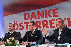 "06.12.2016, Freiheitlicher Parlamentsklub, Wien, AUT, FPÖ, Pressekonferenz ""Nach der Wahl ist vor der Wahl"". im Bild v.l.n.r. Dritter Nationalratspraesident Norbert Hofer (FPÖ), Klubobmann FPÖ Heinz-Christian Strache und FPÖ Generalsekretär und Nationalratsabgeordneter Herbert Kickl // f.l.t.r. 3rd President of the National Council Norbert Hofer (FPOe), Leader of the parliamentary group FPOe Heinz Christian Strache and Member of Parliament FPOe Herbert Kickl during press conference of the austrian freedom party according to presidential elections in Vienna, Austria on 2016/12/06. EXPA Pictures © 2016, PhotoCredit: EXPA/ Michael Gruber"