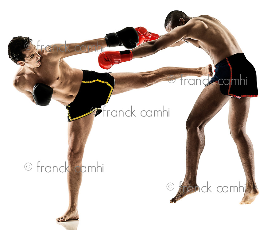 two caucasian Muay Thai kickboxing kickboxer thai boxing men isolated on white background