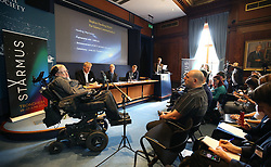 Professor Stephen Hawking (left) at The Royal Society in London speaking at a press conference previewing the Starmus science and arts festival taking place in Norway next month.