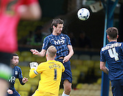 Southend player David Mooney heads for goal during the Sky Bet League 1 match between Southend United and Peterborough United at Roots Hall, Southend, England on 5 September 2015. Photo by Bennett Dean.