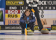 "Glasgow. SCOTLAND.  Scotland, ""Skip"" Eve MUIRHEAD,  ""Marks"" where she wants the ""Stone"" to strike, during  the ""Round Robin"" Game.  Scotland vs Russia,  Le Gruyère European Curling Championships. 2016 Venue, Braehead  Scotland<br /> Thursday  24/11/2016<br /> <br /> [Mandatory Credit; Peter Spurrier/Intersport-images]"