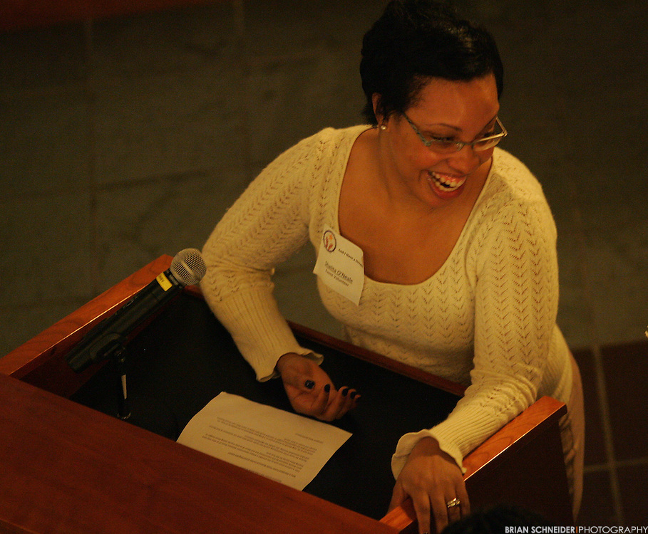 November 15, 2011; Baltimore, MD, USA; Shalita O'Nelle speaking at an event in Baltimore, MD. Brian Schneider-www.ebrianschneider.com