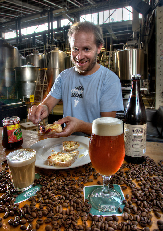 Mountain Goat brewery breakfast beer with Seven Seeds coffee incorporated into the brew. Co-founder and chief brewer Dave Bonighton enjoys breakfast. Pic By Craig Sillitoe CSZ/The Sunday Age.16/02/2012  Pic By Craig Sillitoe CSZ / The Sunday Age melbourne photographers, commercial photographers, industrial photographers, corporate photographer, architectural photographers, This photograph can be used for non commercial uses with attribution. Credit: Craig Sillitoe Photography / http://www.csillitoe.com<br />
