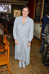 REBECCA GUINNESS at a quiz night hosted by Zoe Jordan to celebrate the launch of her men's ZJKNITLAB collection held at The Larrick Pub, 32 Crawford Place, London on 20th April 2016.