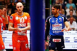 20150501 BEL: Volley Behappy2 Asse-Lennik - Knack Roeselare, Zellik<br />Seppe Baetens (8), Jasper Diefenbach (10) of Volley behappy2 Asse - Lennik, Hendrik Tuerlinckx (2) of Knack Volley Roeselare<br />©2014-FotoHoogendoorn.nl / Pim Waslander