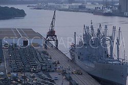 Aerial view of a docked ship waiting to be loaded