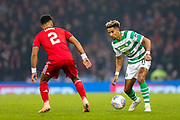 Scott Sinclair (#11) of Celtic looks to take on Shaleum Logan (#2) of Aberdeen during the Betfred Cup Final between Celtic and Aberdeen at Celtic Park, Glasgow, Scotland on 2 December 2018.