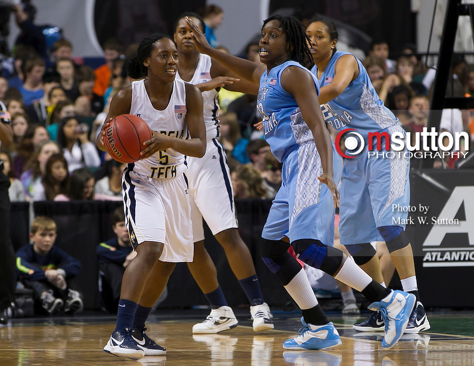 during this 2nd round game between Georgia Tech and North Carolina in the 2012 ACC Women's Basketball Tournament in Greensboro, North Carolina.  Georgia Tech won 54 - 53.  March 02, 2012  (Photo by Mark W. Sutton)