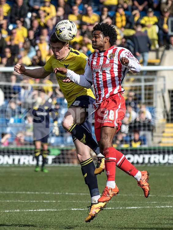 Bradley Pritchard of Stevenage and John Lundstram of Oxford United during the Sky Bet League 2 match between Oxford United and Stevenage at the Kassam Stadium, Oxford, England on the 25th March 2016. Photo by Liam McAvoy.