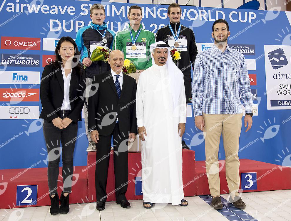from left Adam Peaty GBR, Cameron Van der Burgh RSA, Giulio Zorzi RSA<br /> 50 breaststroke men<br /> FINA Airweave Swimming World Cup 2015<br /> Dubai U.A.E  2015  Nov.6 th - 7th3 rd<br /> Day1 - Nov. 6 th finals<br /> Photo G. Scala/Deepbluemedia