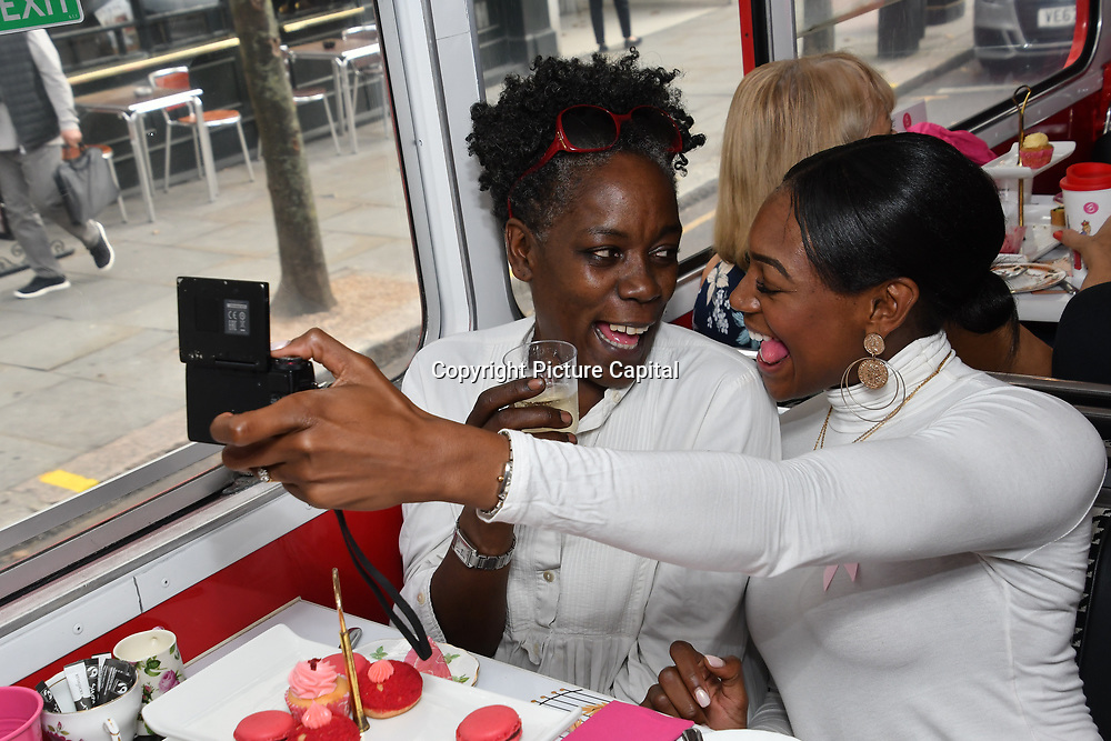 Norma Shakes, Perri Shakes-Drayton attend Brigits Bakery host their Pink Ribbon Afternoon Tea in aid of the Pink Ribbon Foundation, London, UK. 16 October 2018.