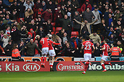 Barnsley FC midfielder Oliver McBurnie (15) celebrates scoring goal with Barnsley FC midfielder Adam Hammill (7) to go 1-1 during the EFL Sky Bet Championship match between Barnsley and Sheffield Wednesday at Oakwell, Barnsley, England on 10 February 2018. Picture by Ian Lyall.