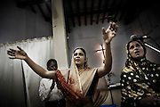 Refugees from Kandmahal district during the prayer at Peyton sahi relief comittee in Orissa's capital Bhubaneswar on Nov. 3, 2008.