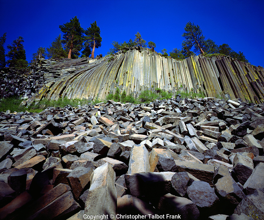 I hiked through the forest to photographed these unusual basalt formations in Devils Postpile National Monument.  My photos shows a strange geologic landscape in the Sierra Nevada Mountains.