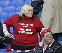 Photo: Aidan Ellis.<br /> Everton v Sunderland. The Barclays Premiership. 01/04/2006.<br /> A Sunderland fan lets her feelings known about her team with this t-shirt