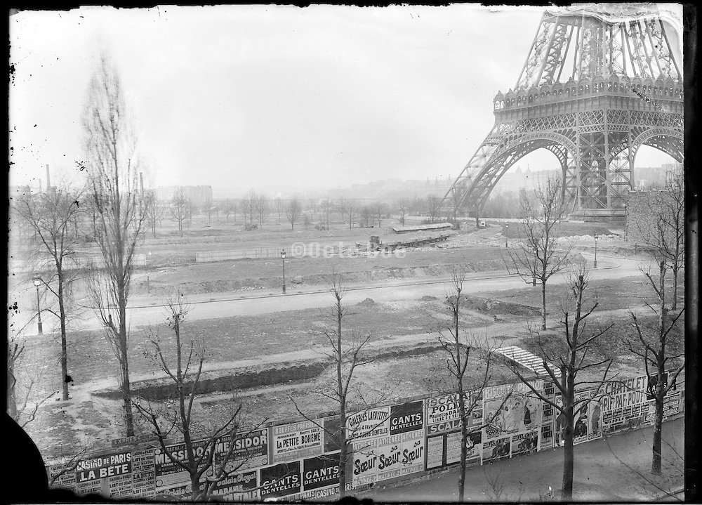 grounds by the Eiffel Tower before the Exposition Universelle de Paris 1889