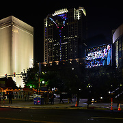 A night time view outside the Charlotte NC Convention Center at the start of the 2012 Democratic National Convention.