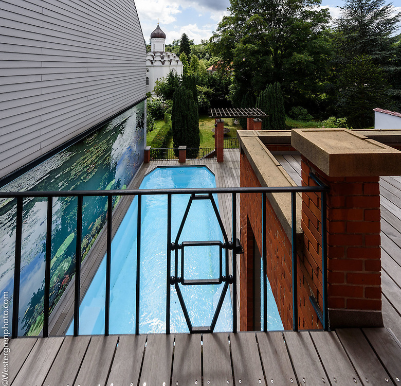 21 Avenue de l'Echevinage, 1180 Uccle, Belgium. The view from the terrace of the master bedroom on the first floor.