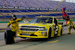 July 12, 2018 - Sparta, KY, U.S. - SPARTA, KY - JULY 12: The crew goes to work on the Cody Coughlin (2) JEGS.com Chevrolet Silverado during a pit stop the NASCAR Camping World Truck Series Buckle Up In Your Truck 225 on July 12th, 2018, at Kentucky Speedway in Sparta, Kentucky. (Photo by Michael Allio/Icon Sportswire) (Credit Image: © Michael Allio/Icon SMI via ZUMA Press)