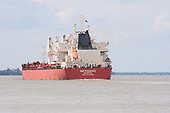 Images of Ultramax MV 'SBI Phoenix' sailing upstream in the Mississippi River