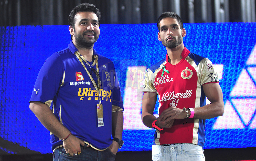 Siddharth Mallya with Rajasthan Royals owner Raj Kundra after match during match 30 of the the Indian Premier League ( IPL) 2012  between The Rajasthan Royals and the Royal Challengers Bangalore held at the Sawai Mansingh Stadium in Jaipur on the 23rd April 2012..Photo by Arjun Panwar/IPL/SPORTZPICS