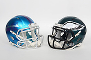 General overall view of Philadelphia Eagles and Super Bowl LII helmets. The Eagles will play the New England Patriots in Super Bowl LII on Sunday, Feb. 4, 2018 in the 52nd meeting between the AFC and the NFC Champions.