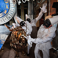 VENICE, ITALY - MARCH 05:  A group masked as Pulcinellas perform at Palazzo Pisani Moretta during the annual Ballo del Doge on March 5, 2011 in Venice, Italy. The Ballo del Doge, created by fashion and costume designer Antonia Sautter, is considered the most elegant and exclusive masquerade ball during the Venice Carnival.