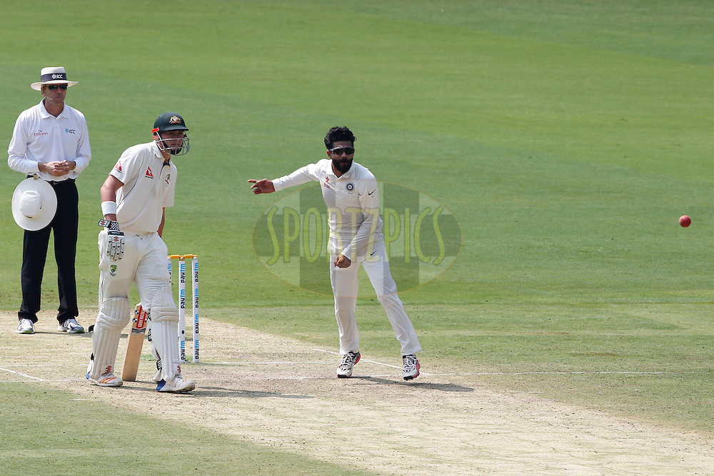 Ravindra Jadeja of India bowls a delivery during day two of the second test match between India and Australia held at the M Chinnaswamy Stadium in Bangalore on the 5th March 2017. <br /> <br /> Photo by: Deepak Malik / BCCI/ SPORTZPICS