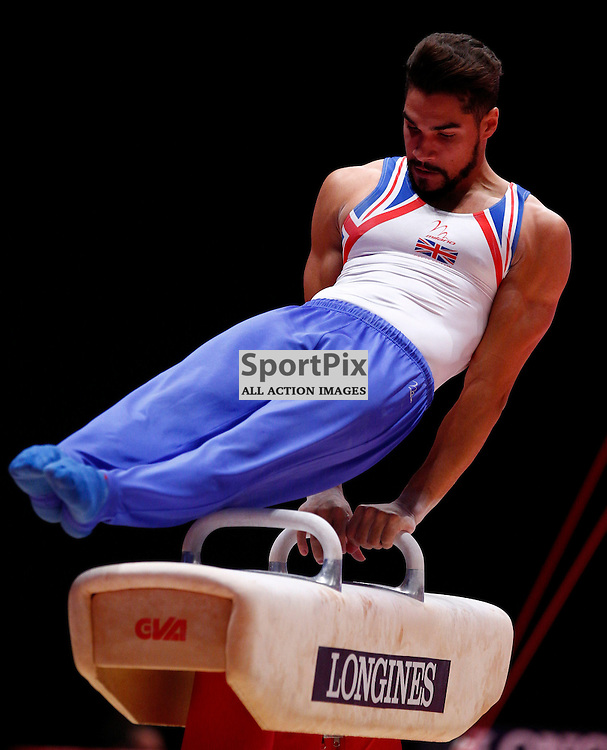 2015 Artistic Gymnastics World Championships being held in Glasgow from 23rd October to 1st November 2015....Great Britain's Louis Smith performs in the Pommel Horse competition in the Men's Team Final...(c) STEPHEN LAWSON | SportPix.org.uk